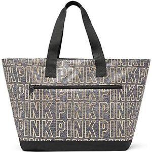 Victorias Secret PINK Grey Marl/Gold Zippered Tote